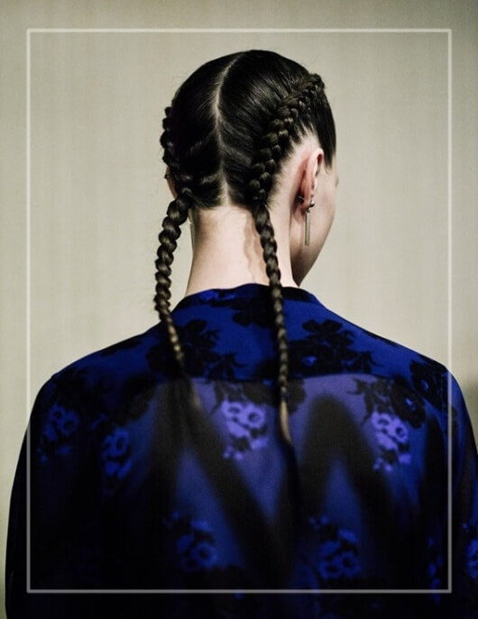 Mini hair trend - double braids:http://www.fashiontogo-ftg.com/mini-trend-double-french-braids/ Ph: Art Partner