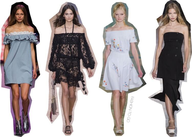 Off the shoulder runway trend ss16 by FTG: http://www.fashiontogo-ftg.com/ss16-trends-off-the-shoulder/