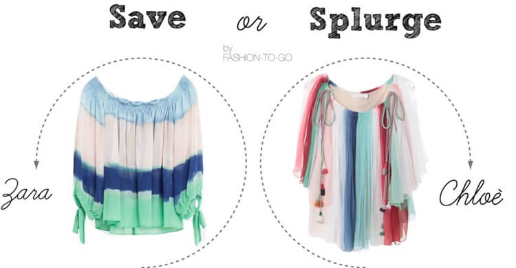 Save or splurge off the shoulder stipe flovy blouse by FTG: http://www.fashiontogo-ftg.com/save-od-splurge-silk-rainbow-blouse/