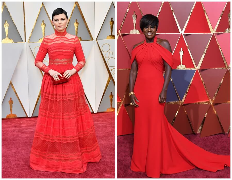 Oscars 2017 red carpet - red gowns: Ginnifer Goodwin and Viola Davis
