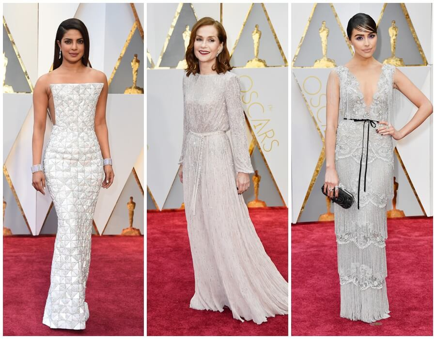 Oscars 2017 red carpet - white with a silver sparcle: Priyanka Chopra, Isabelle Huppert, Olivia Culpo