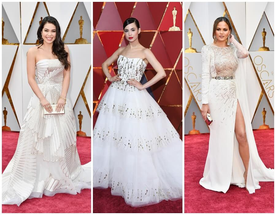Oscars 2017 red carpet - white with a silver sparcle: Auli'i Cravalho, Sofia Carson, Chrissy Teigen