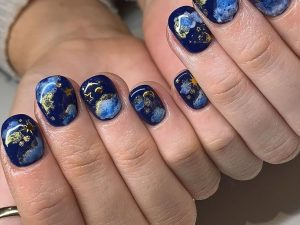 galaxy nails, star constellation manicure trend