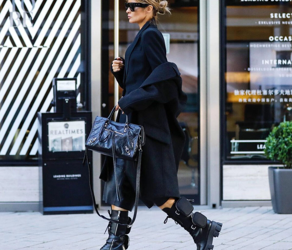 combat chunky boots street style how to wear black winter boots